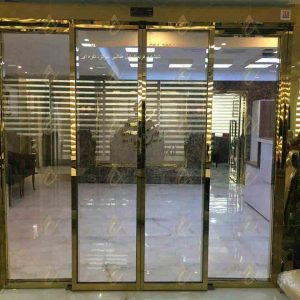 درب شیشه ای اتوماتیک با قاب طلایی
